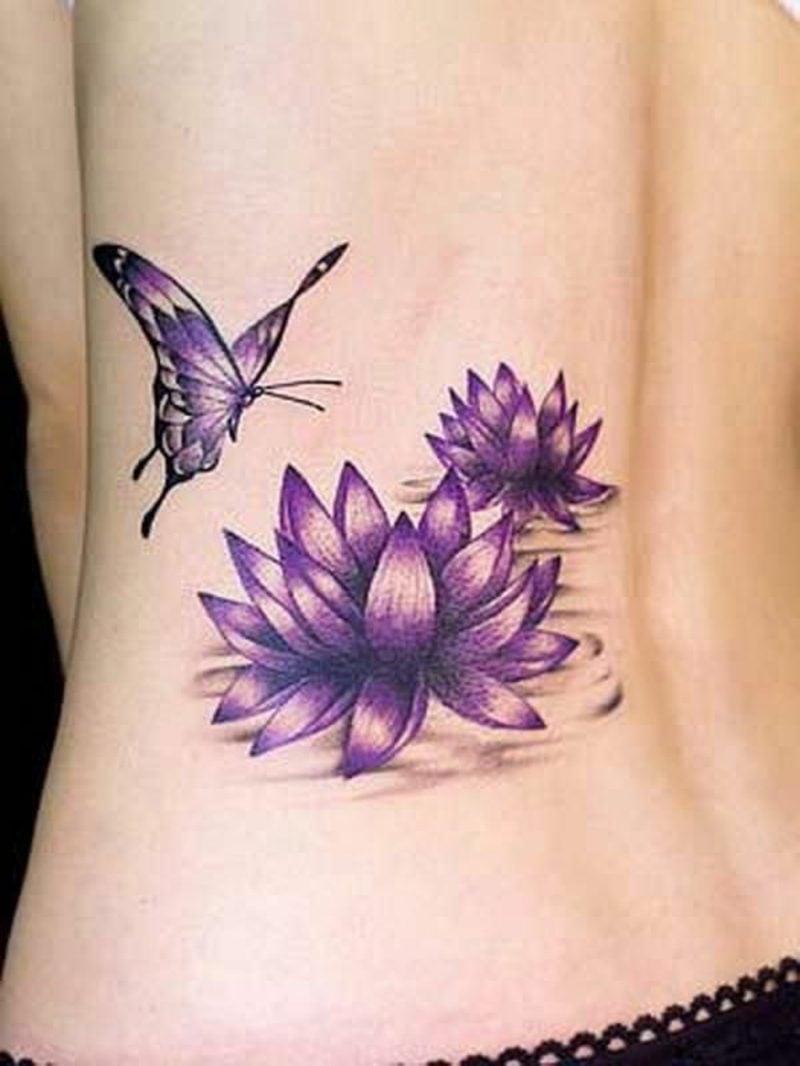 Lilien Tattoos zwei Wasserlilien und Schmetterling