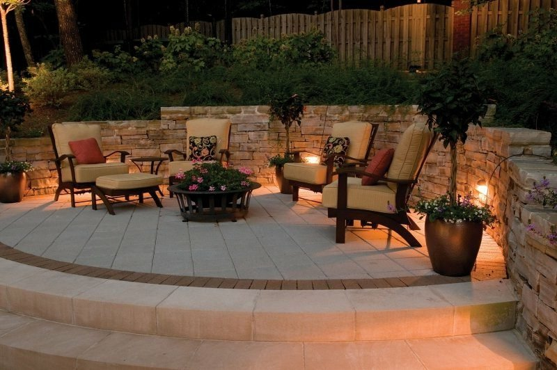 beleuchtete Terrasse LED Gartenbeleuchtung