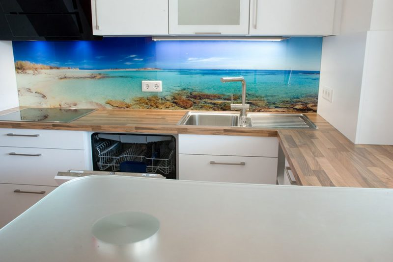 küche glasrückwand kreativ