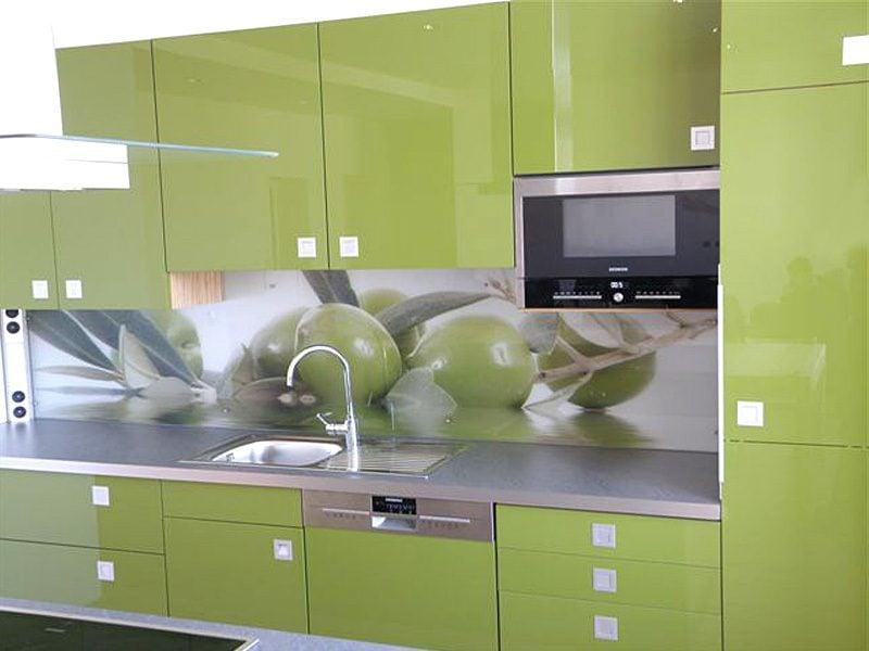 küche glasrückwand grün