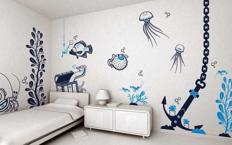 Unterwasserwelt Wandbemalung Kinderzimmer