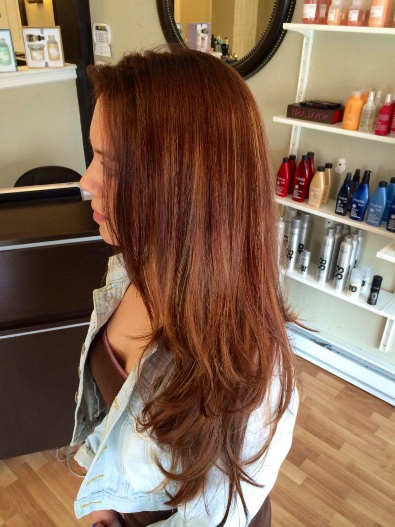 Kupferbraun Haarfarbe lange Haare