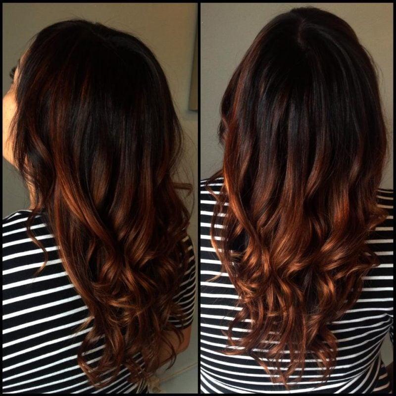 Kupferbraun Haarfarbe Ombre mit Dunkel