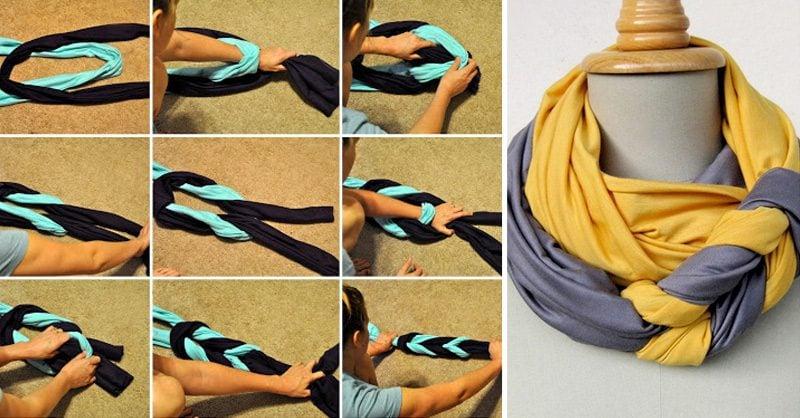 Loop Schal binden Zopfe
