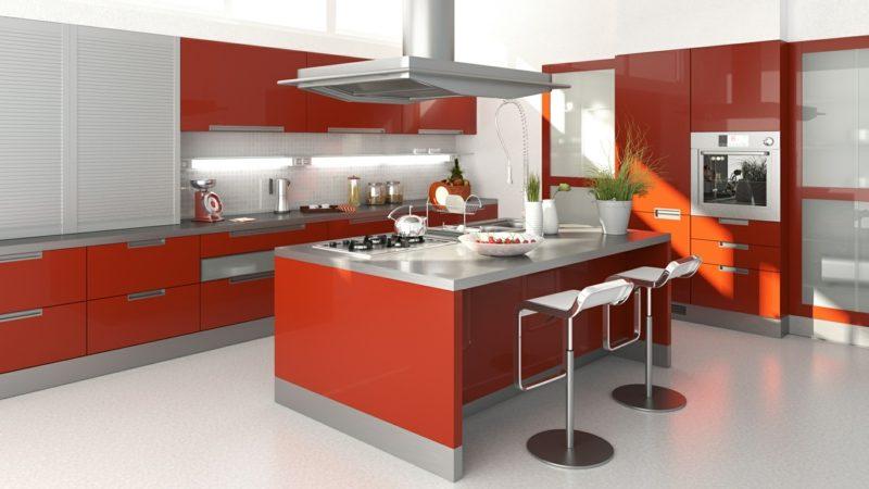 Kücheninsel im Rot