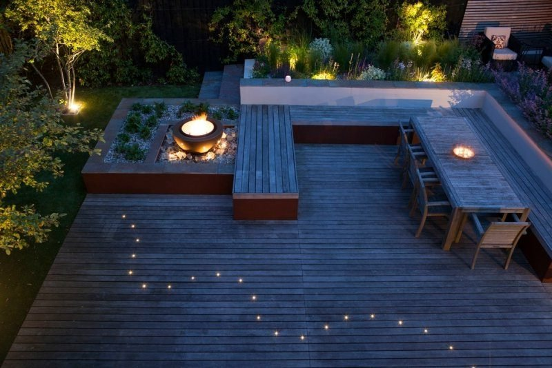 Terrasse eingebaute LED Beleuchtung