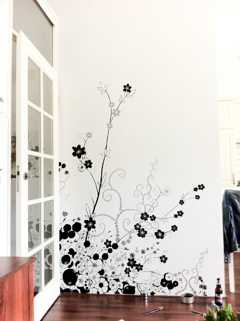 Blumen Wandmalerei