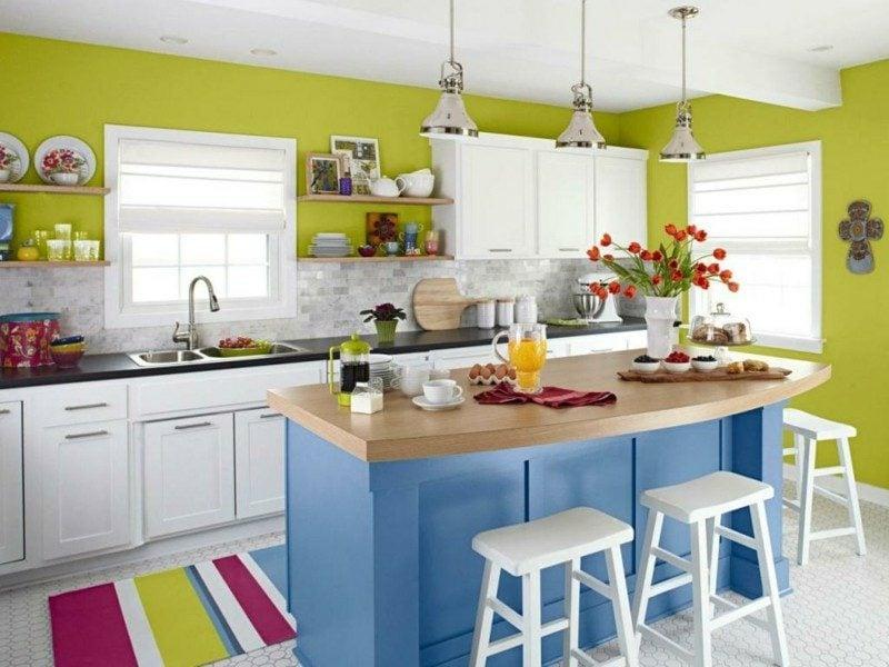 Küche farbenfroh Kücheninsel