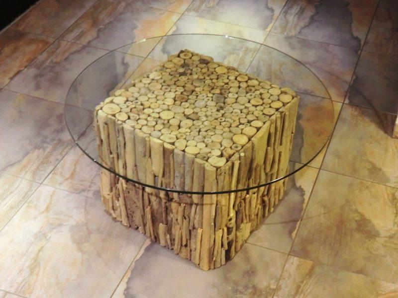 runder Kaffeetisch Treibholz und Glas