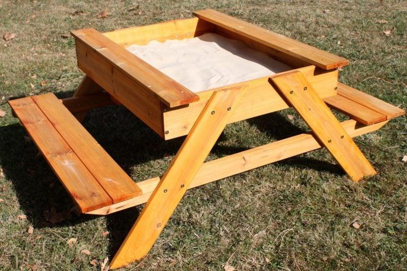 Sandkasten bauen DIY Tisch