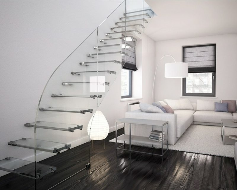 freitragende Treppe Glas