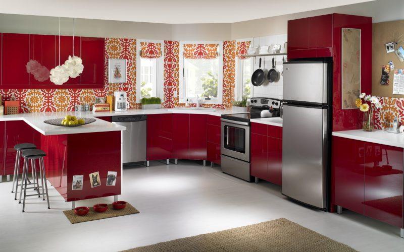 tapete für küche rot