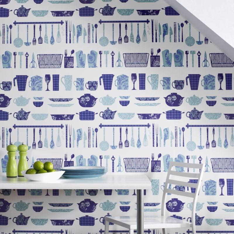 tapete für küche blau