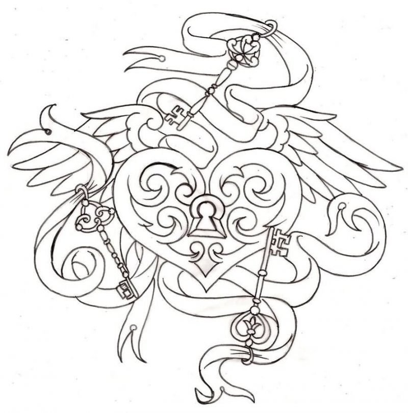 Tattoovorlagen kostenlos Schluessel Herz