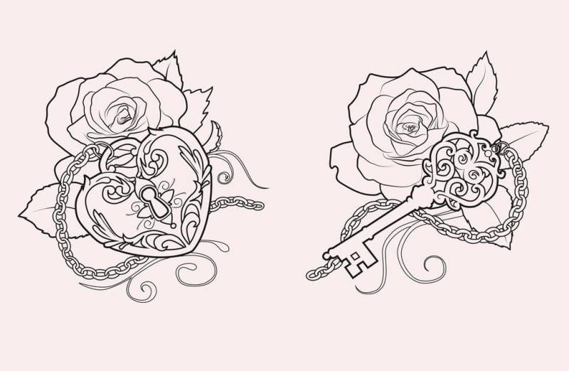 Tattoovorlagen kostenlos Schlüssel Rose Frauen Tattoos