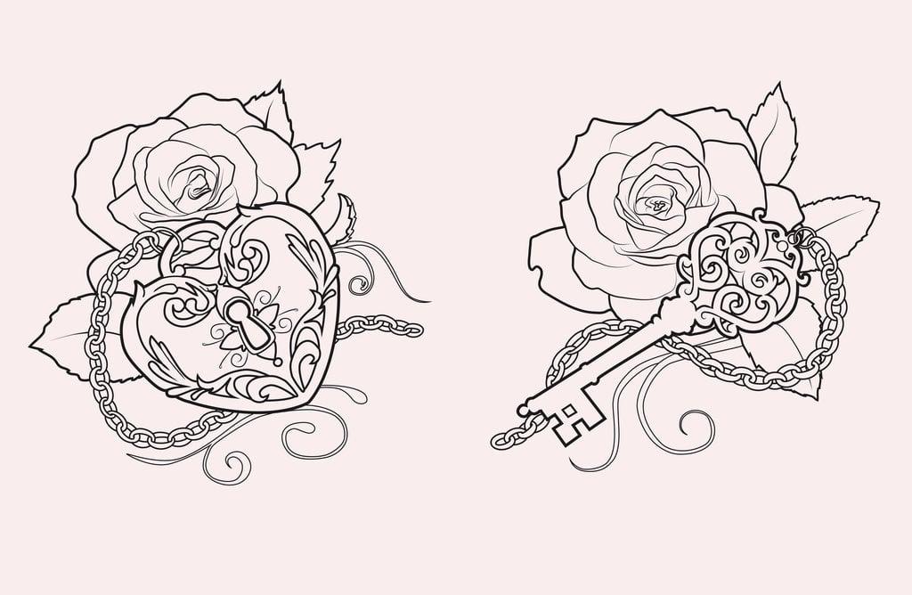 schloss mit schlüssel tattoo