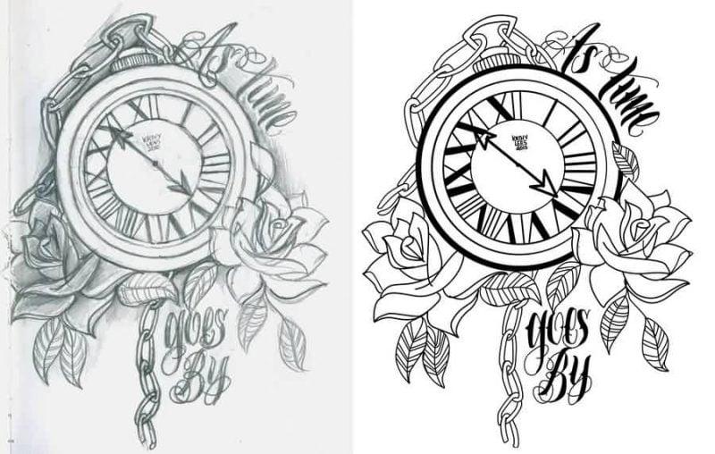 Tattoovorlagen kostenlos Uhr Design