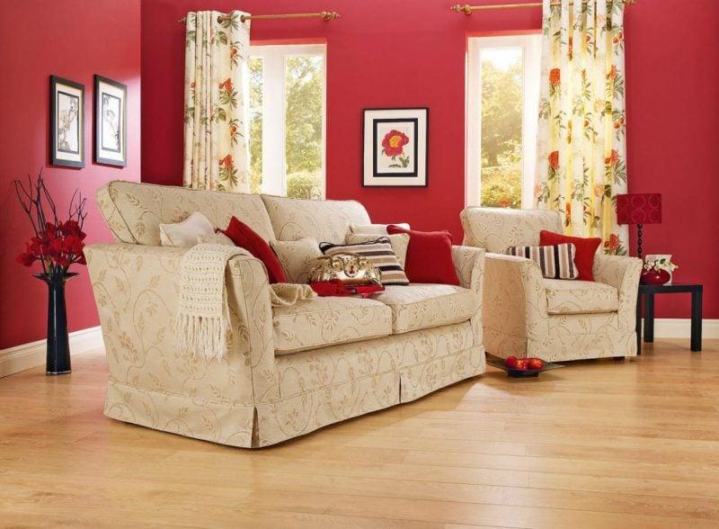 Welche Farben passen zusammen Wohnraum in Rot