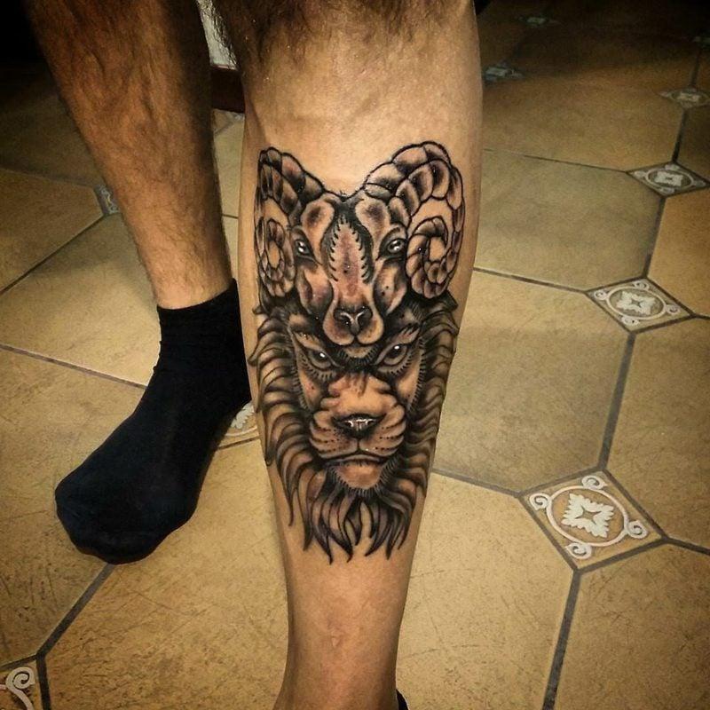 widder tattoo Simple Aries Tattoo on Leg
