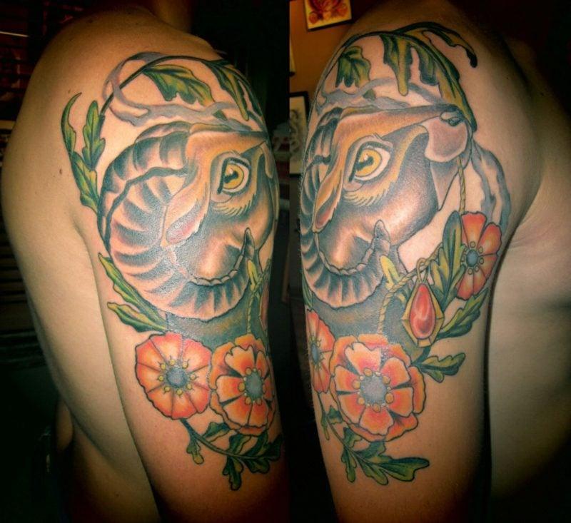 widder tattoo flowers