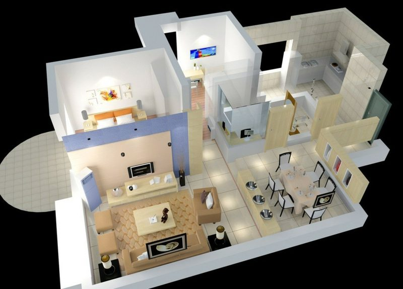 3d raumplaner house interior aerial view