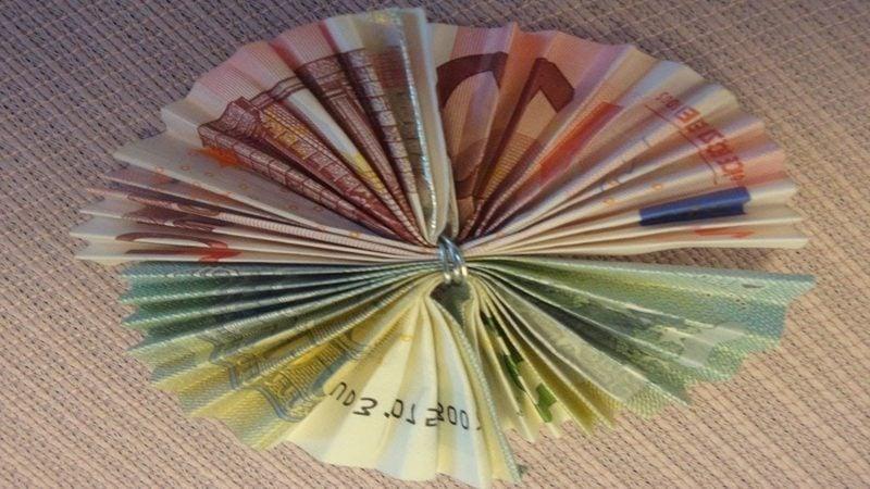 Geldschein zur Blume falten