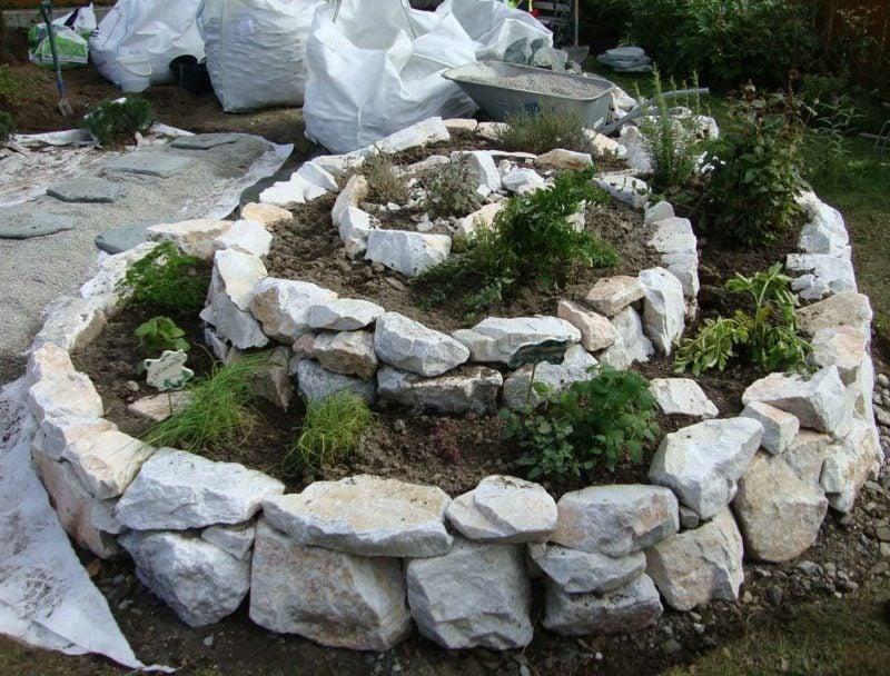 originelle Gartengestaltung Kräuterschnecke bauen
