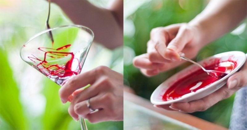 Gläser mit Kunstblut dekorieren