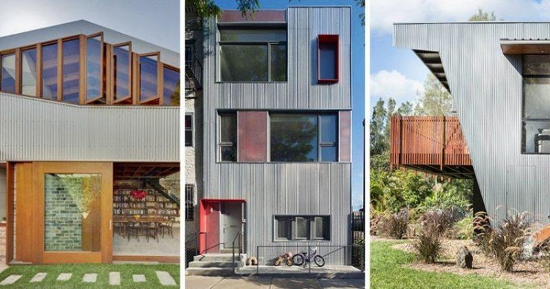 drei Hausfassaden Verkleidung aus Metall