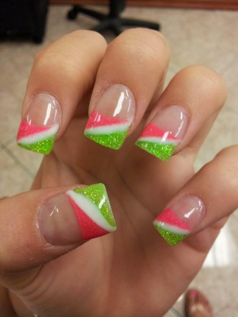 French Fingernägel originelle Farbgestaltung