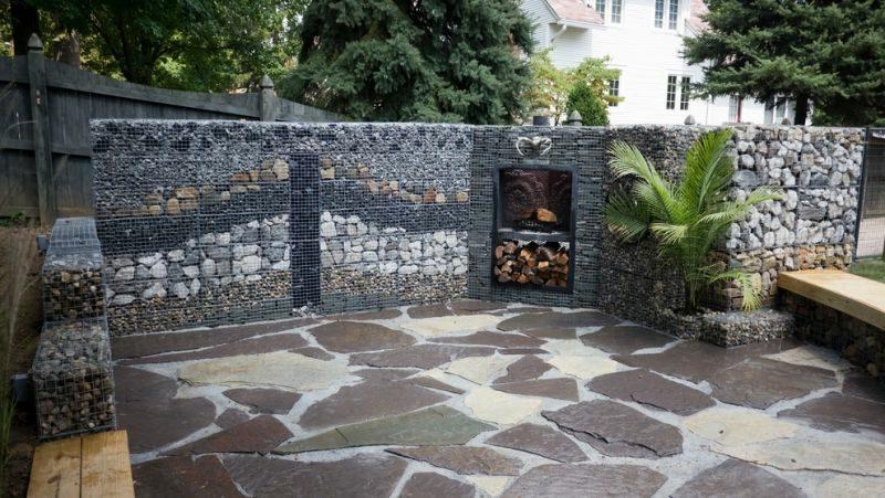 Gabionenwand unterschiedliche Steinarten