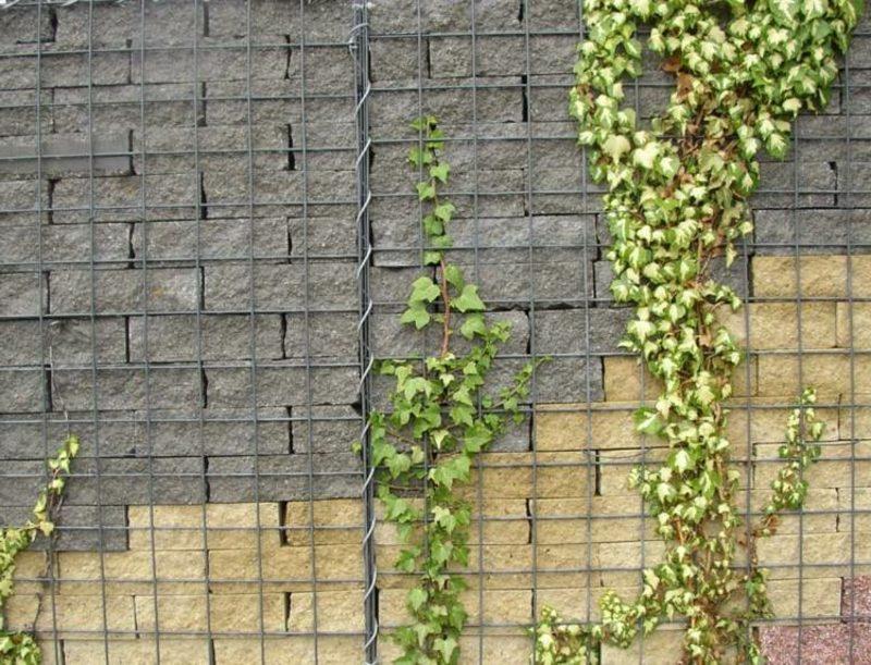 originelle Gabionenwand aus zwei Steinarten