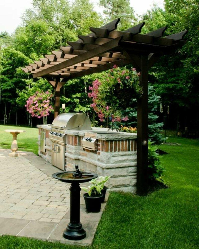 Grill aus Stein Garten Pergola japanischer Stil