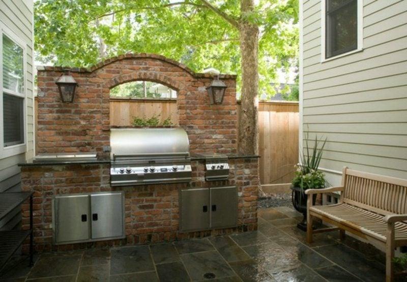 moderner Gartengrill originelle Ideen Gartengestaltung