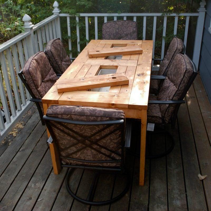 gartentisch selber bauen patio table with built in beer