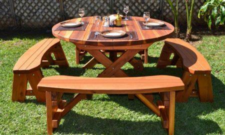 Gartentisch selber bauen round picnic table design in the garden