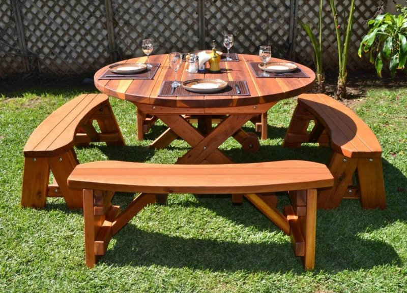 Gartentisch Selber Bauen Round Picnic Table Design In The Garden