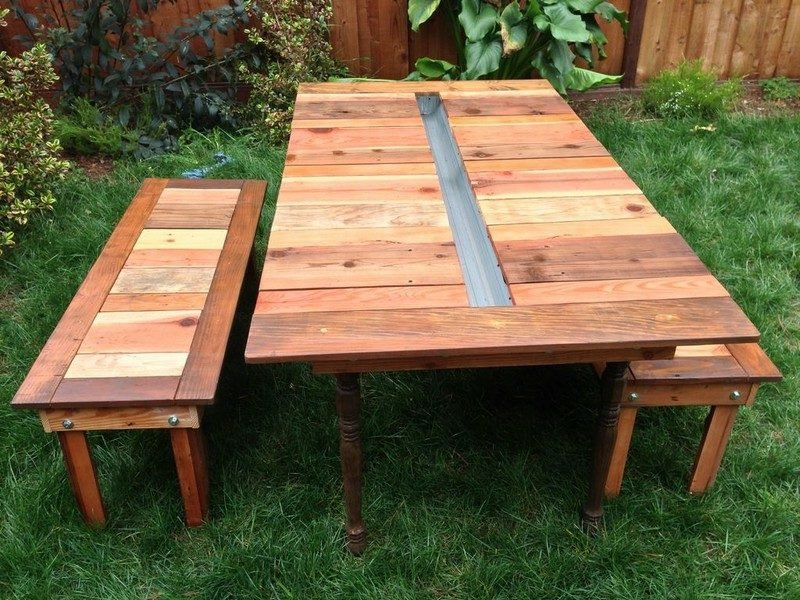 gartentisch selber bauen reclaimed wood picnic table