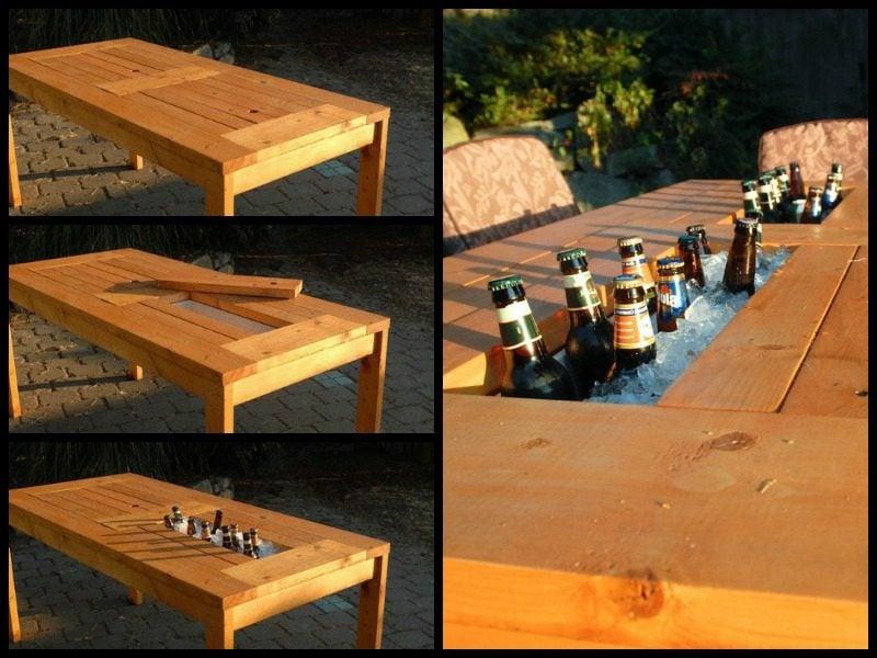 gartentisch selber bauen patio table with wine cooler