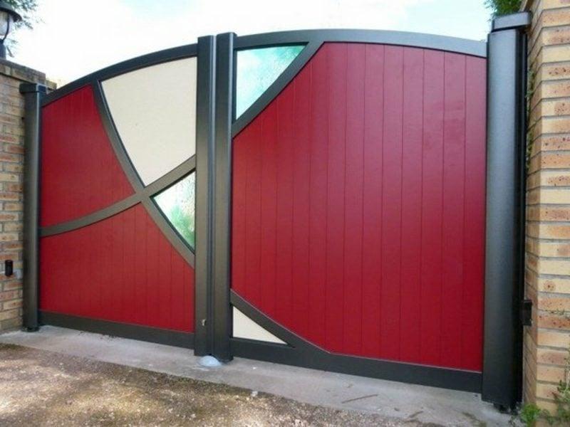 Metallgartentore garden gates aluminum red color glass panels
