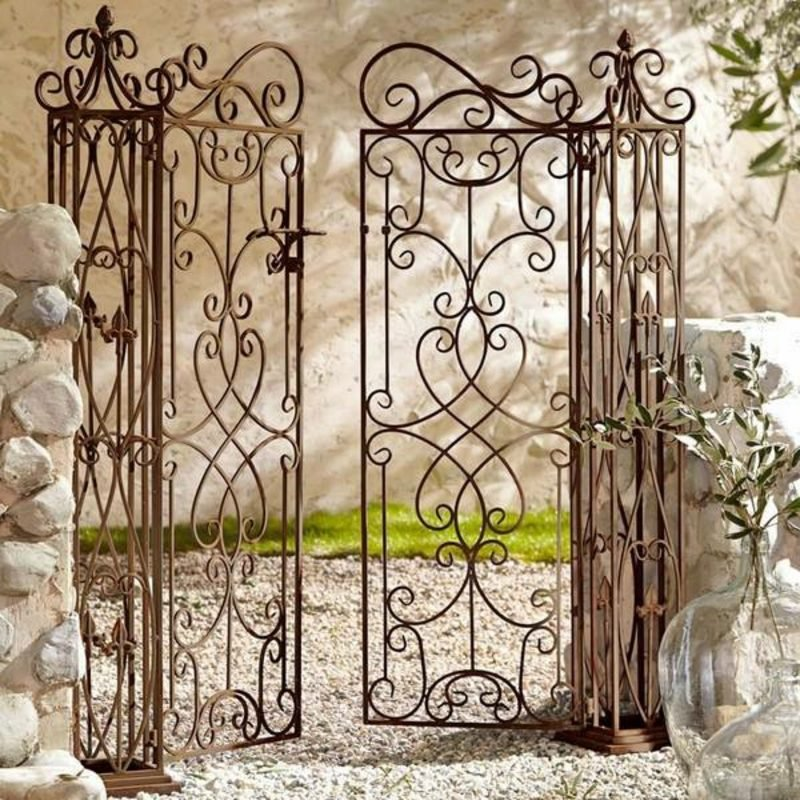 Metallgartentore two wings wrought iron garden stone wall