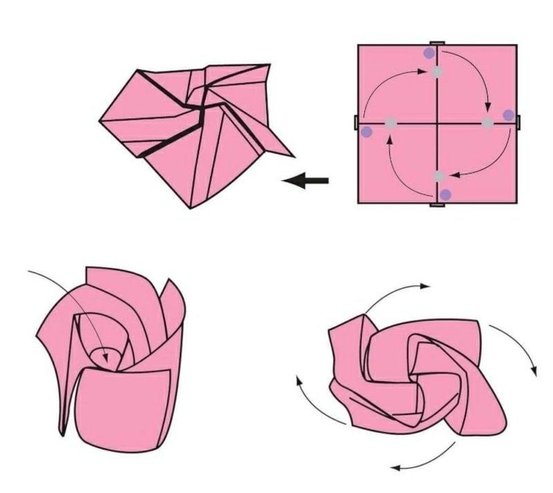 Geldschein zur Blume falten Rose