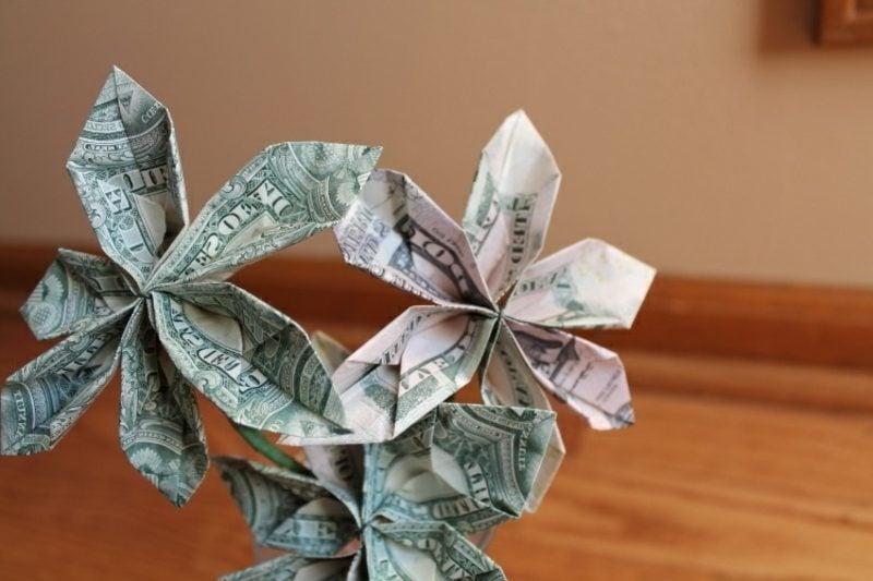 drei Geldschein Blumen