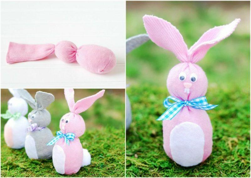 aus alten Socken Hasen basteln kreative Ideen zu Ostern