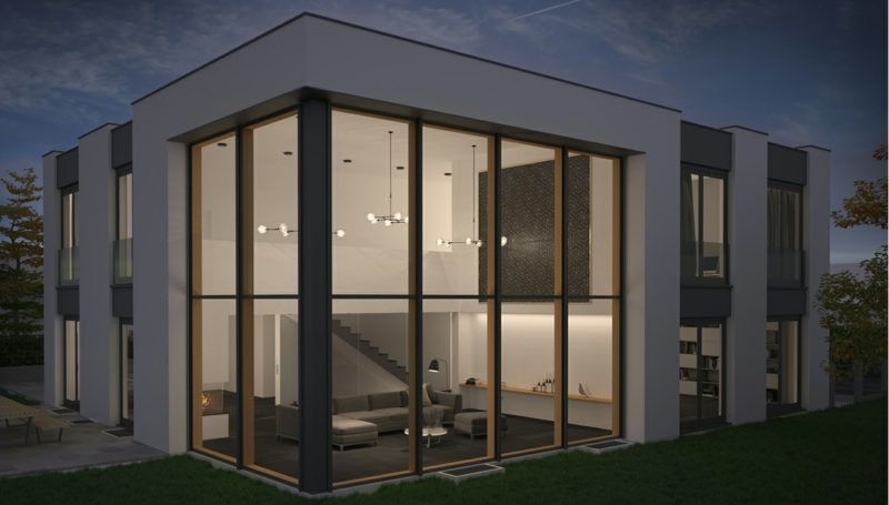Haus mit moderner Glasfassade