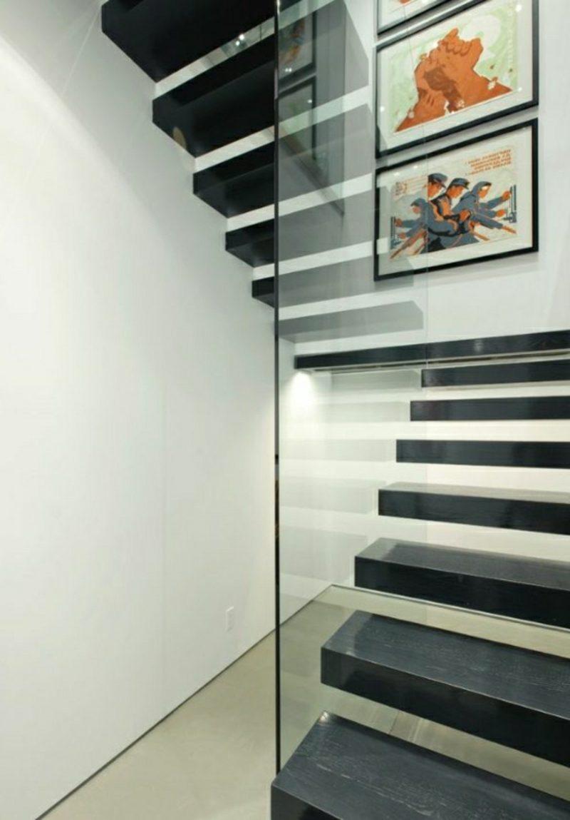 holztreppe schwebende schwarze treppe glas gelander