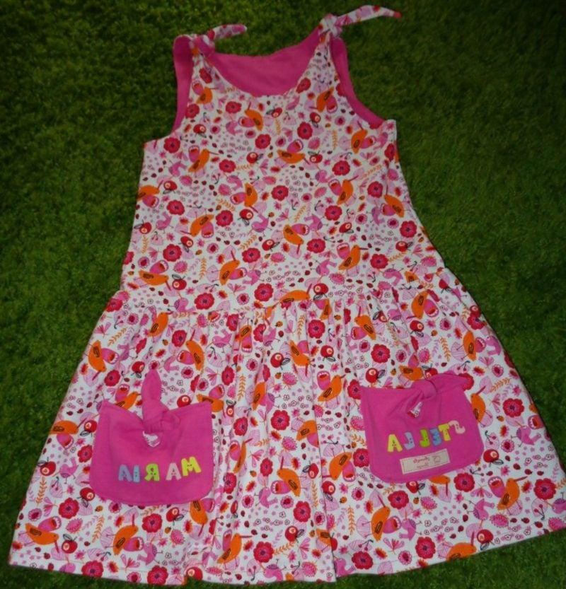 Sommerkleid in Weiss und Rosa Kinderkleidung nähen