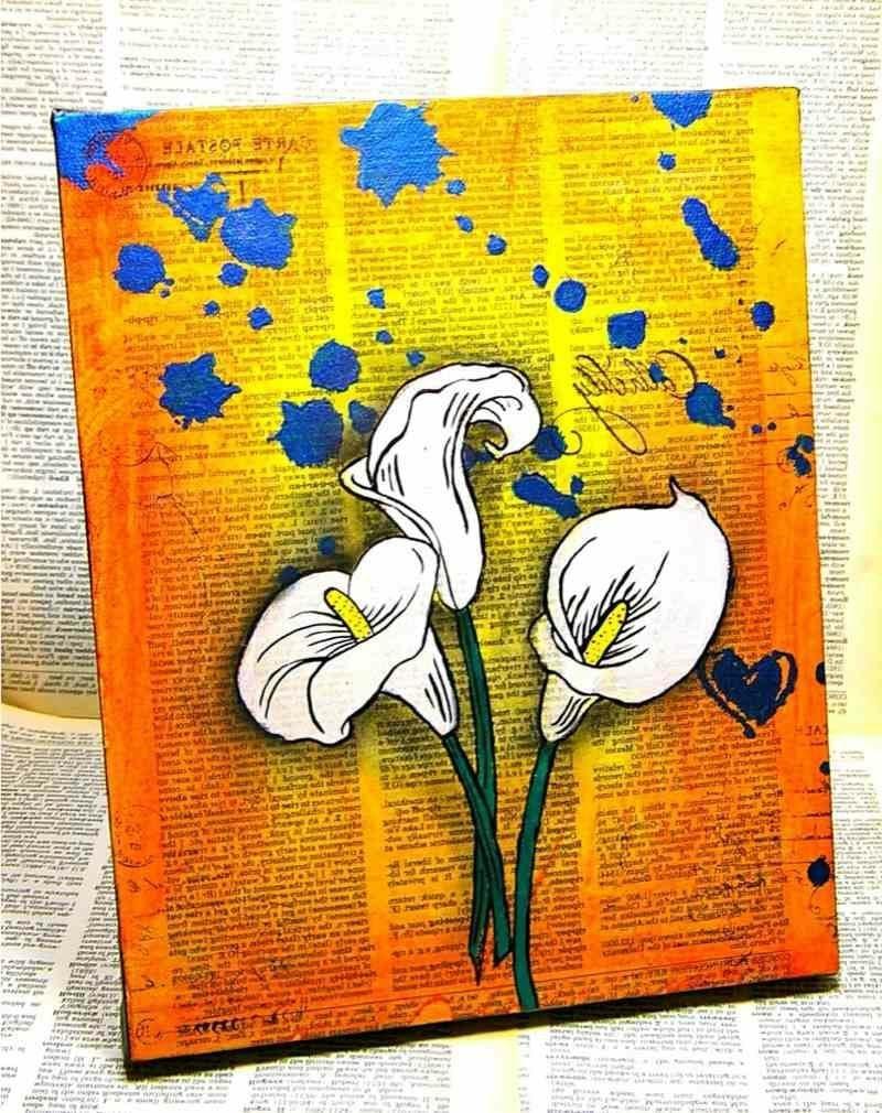 interessantes Bild mit weissen Lilien Leinwand