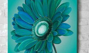 originelle Blume in 3D-Optik Leinwand