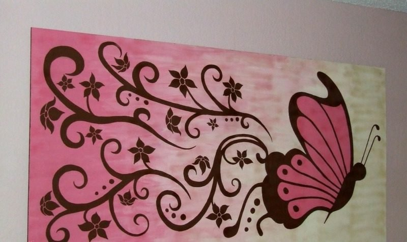 romantisches Bild mit Schmetterling Leinwand
